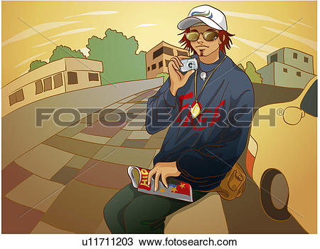 Drawing of Hip Hop Style Young Man Taking Pictures u11711203.