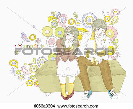 Stock Photo of A boy and girl wearing young style outfit.