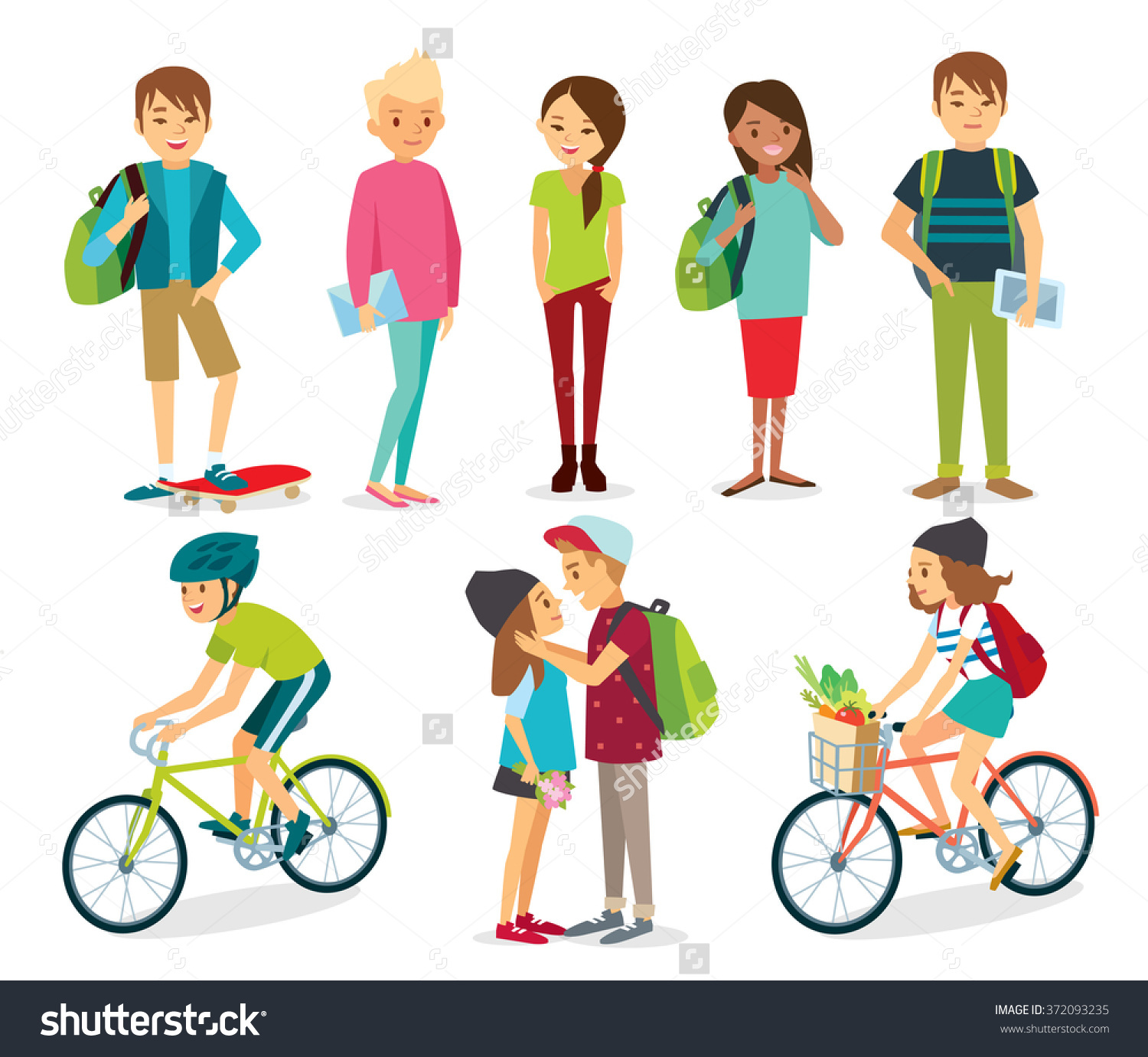 Set Of Young Style People, Students, People With Bike Stock Vector.