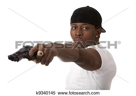 Stock Image of Young thug with a gun k9340145.