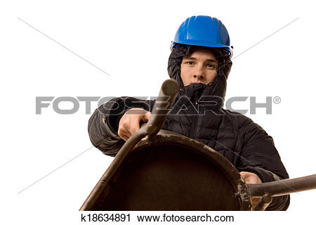 Stock Photography of Young thug using a wooden chair as a weapon.