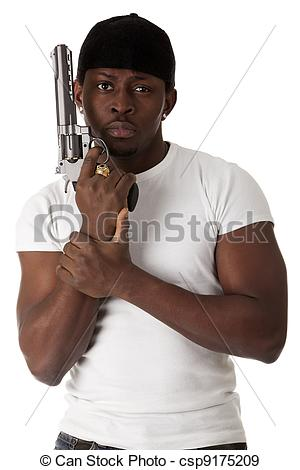 Stock Photographs of Young thug with a gun.