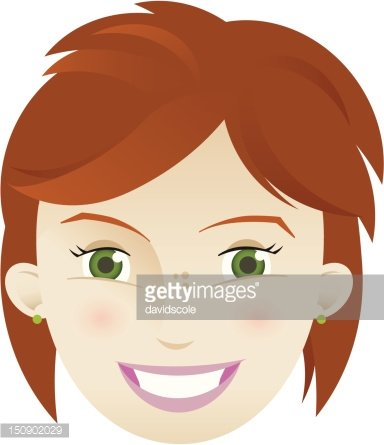 Cute young woman with short red hair, green eyes. Clipart.