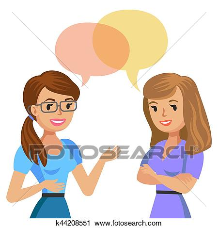 Two young women talking. Meeting colleagues or friends. Vector  illustration. Clipart.