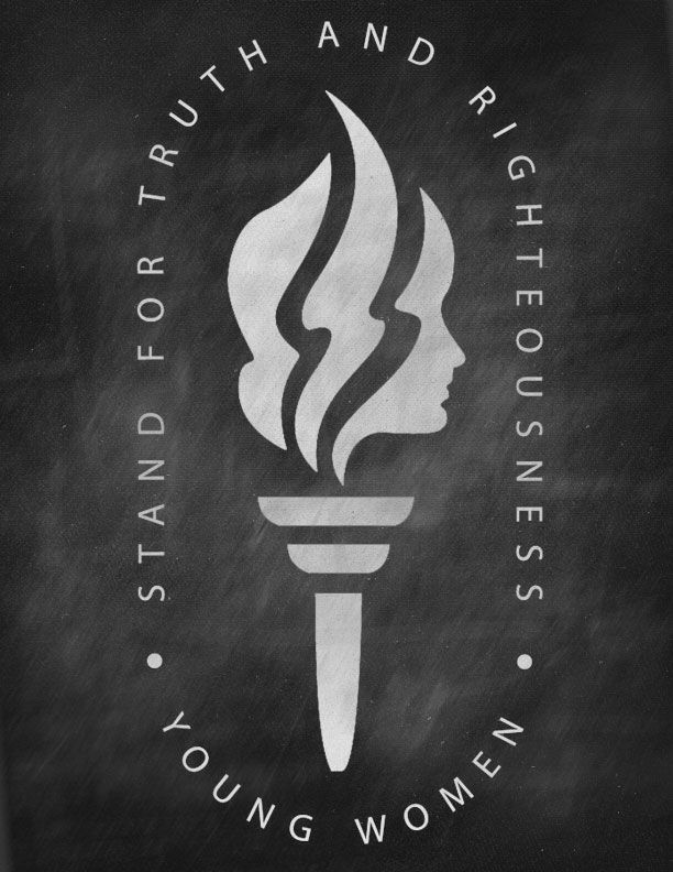 Mormon Share } Young Women Torch Logo on Chalkboard.