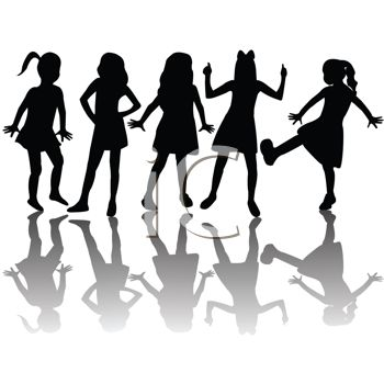 Silhouetted Adolescent Girls.