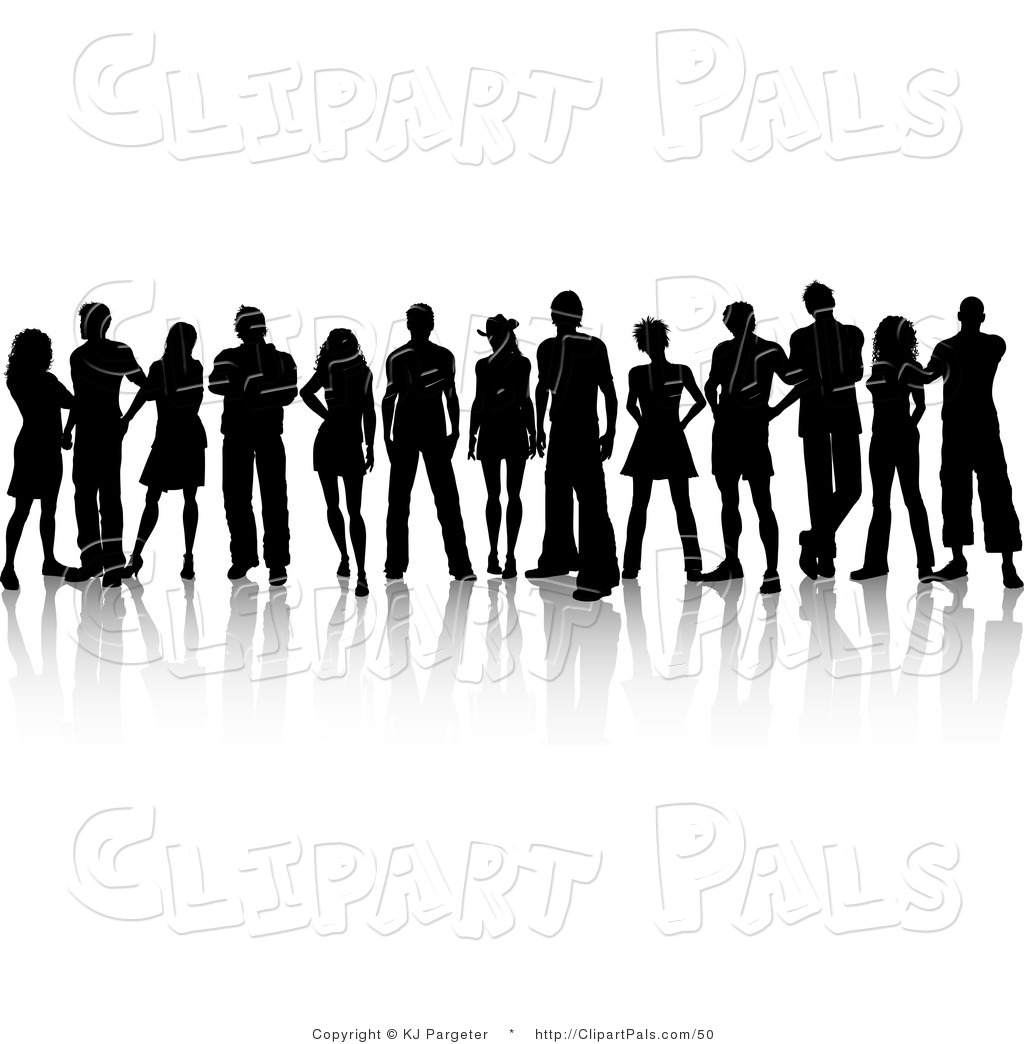 Pal Clipart of a Crowd of Silhouetted Young Adults Standing.