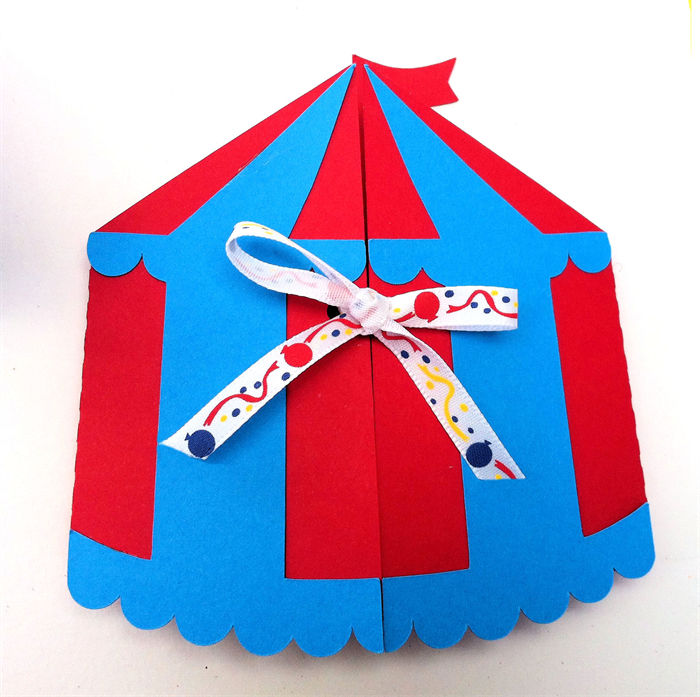 Circus Tent invitation folder. Circus, carnival birthday.