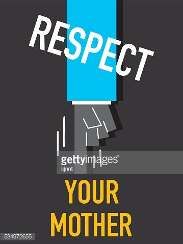 Words RESPECT YOUR MOTHER Clipart Image.