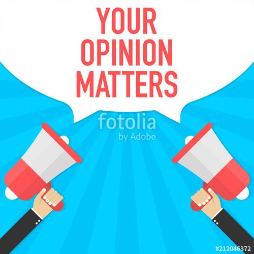 Male hand holding megaphone with your opinion matters speech.