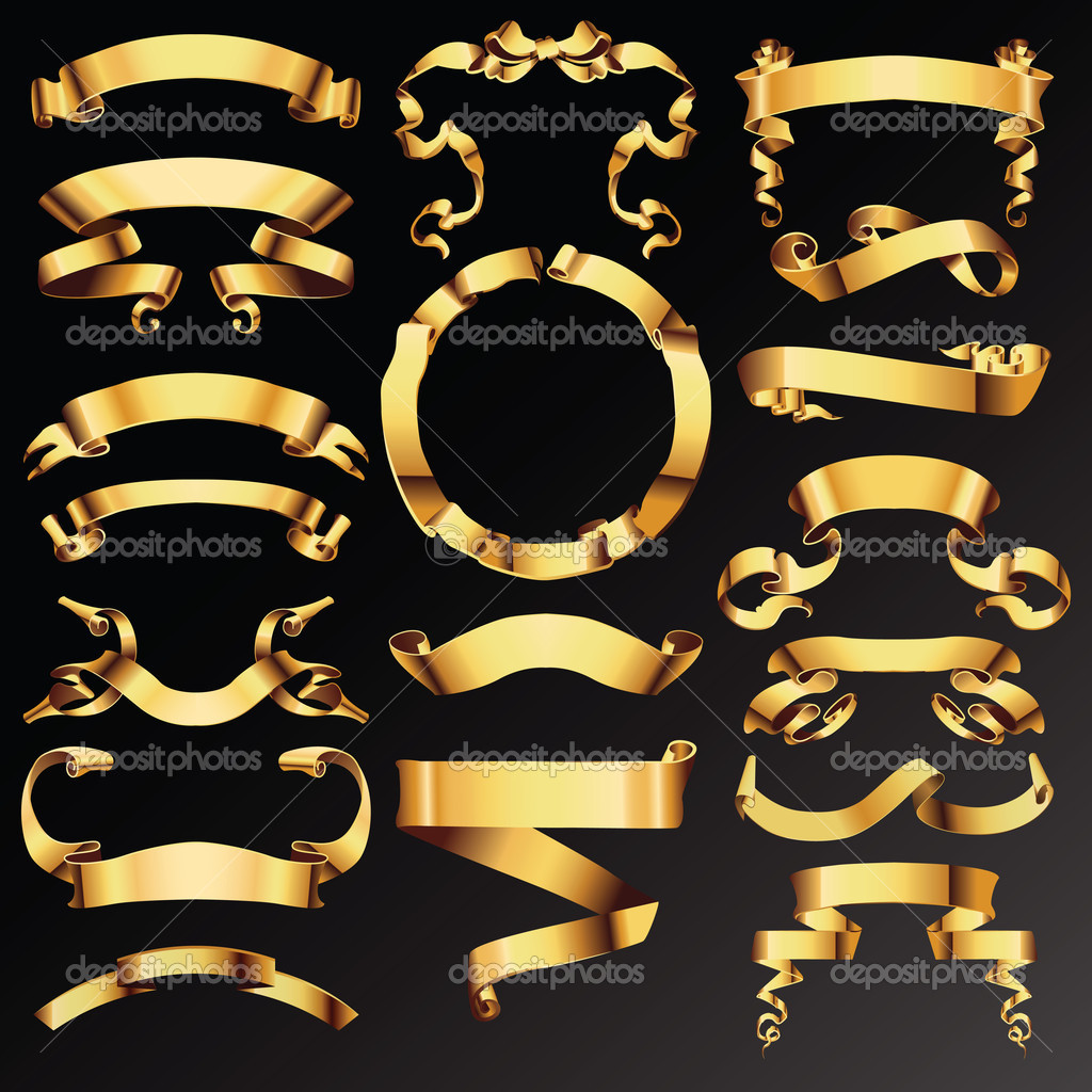 Set of golden vector ribbons or banners for your text — Stock.