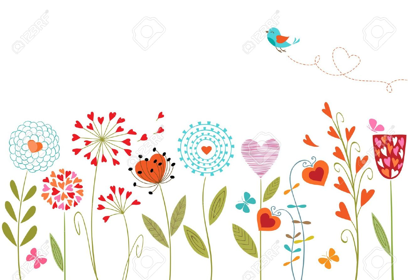 Floral Background With Hand Drawn Flowers, Butterflies, Bird.
