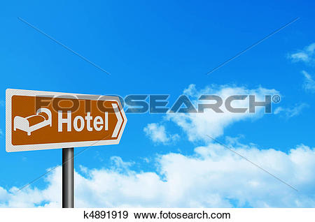 Stock Illustration of Photo realistic 'hotel' sign, with space for.