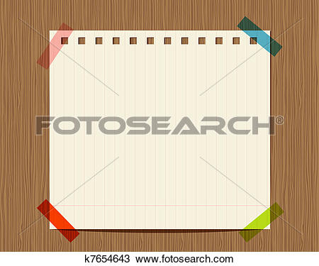 Clipart of Lined paper of notebook on wooden wall, insert your.