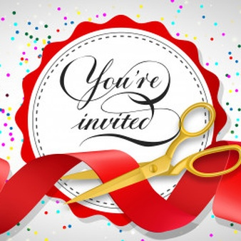 You are invited festive banner with confetti, text on white.