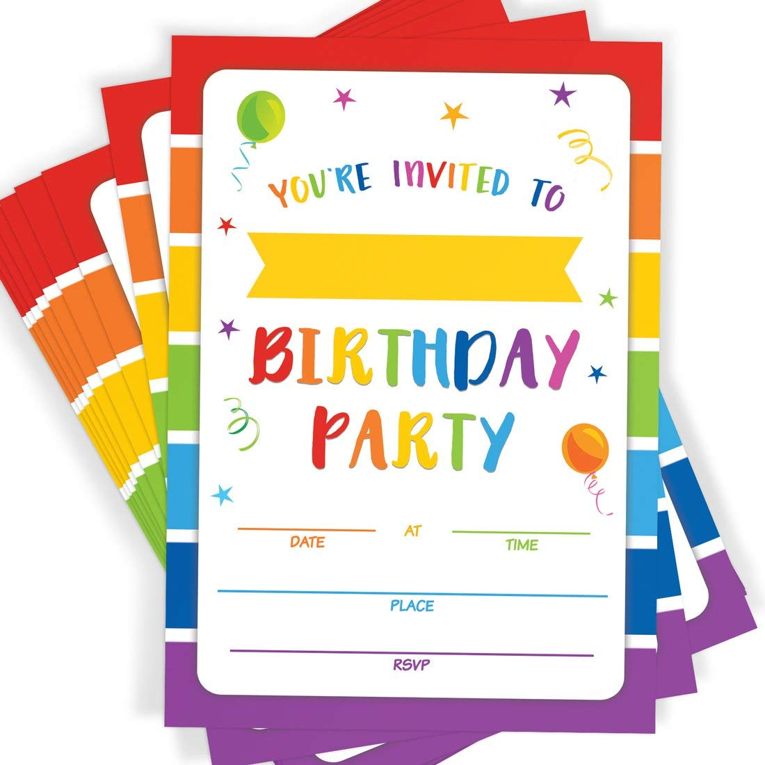 Birthday Party Invitations, 20 Invitations and Envelopes, Rainbow Party  Invites, Ideas, and Supplies.