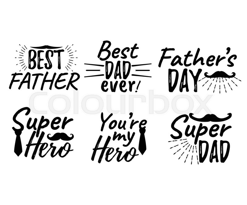 Set of Happy Father\'s Day banner and.