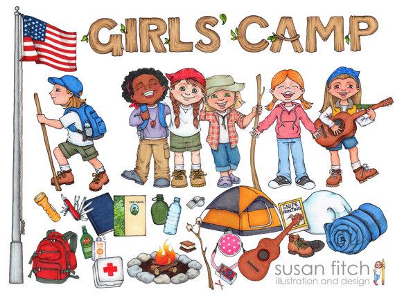 LDS Girls\' Camp digital clip art pack including campers.