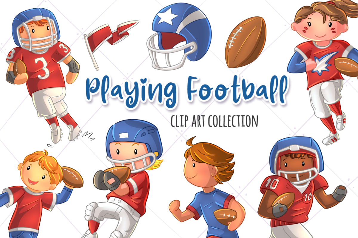 Kids Playing Football Clip Art Collection.