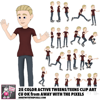 25 Youth Tween Teen Actions Clip Art Commercial Use OK.