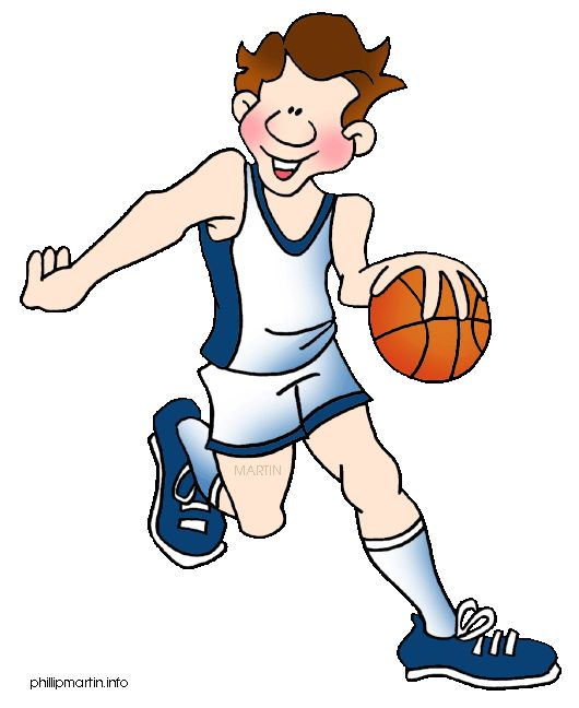 Sports Clipart Image of Boys Youth Basketball Player.