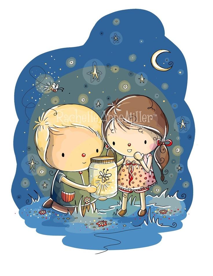 Kids Catching Fireflies Clip Art , Image Illustrations.
