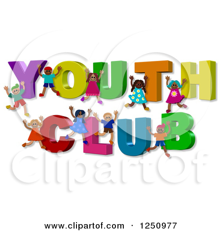 Clipart of 3d Children and YOUTH CLUB Text.