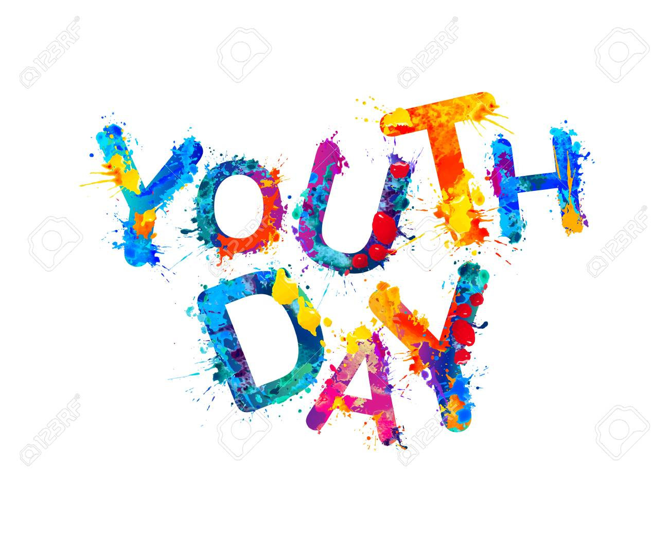 Youth day. Splash watercolor paint vector inscription.
