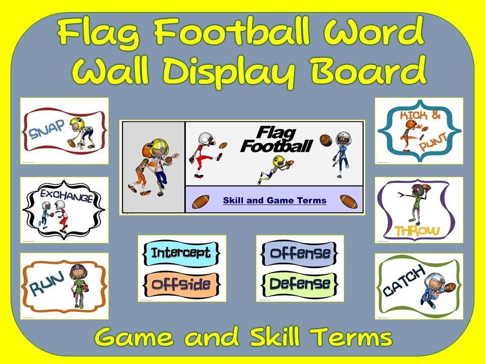 Flag Football Word Wall Display: Skill, Graphics & Game.