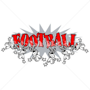 Sports Clipart Image of Black White Youth Boys Football Players.