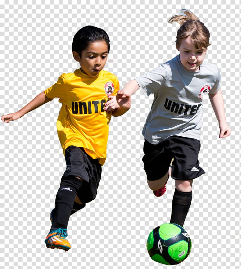 Boy and girl playing soccer, Child Sport Football Game.