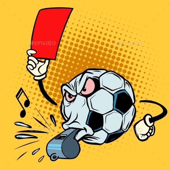 Red Card Referee Whistle. Football Soccer Ball in 2019.
