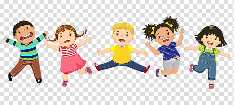 Cartoon people social group child fun, Watercolor, Paint.