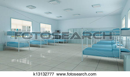Stock Illustration of 3d bedroom, youth hostel dorm room k13132777.