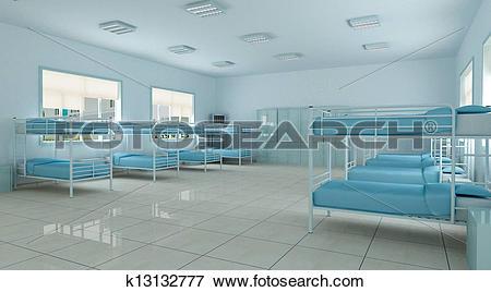 Stock Illustration of 3d bedroom, youth hostel dorm room k13132777.