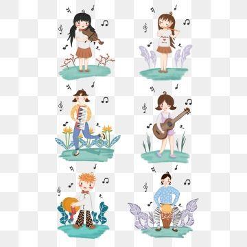2019 的 Cartoon Music Character Illustration Combination.