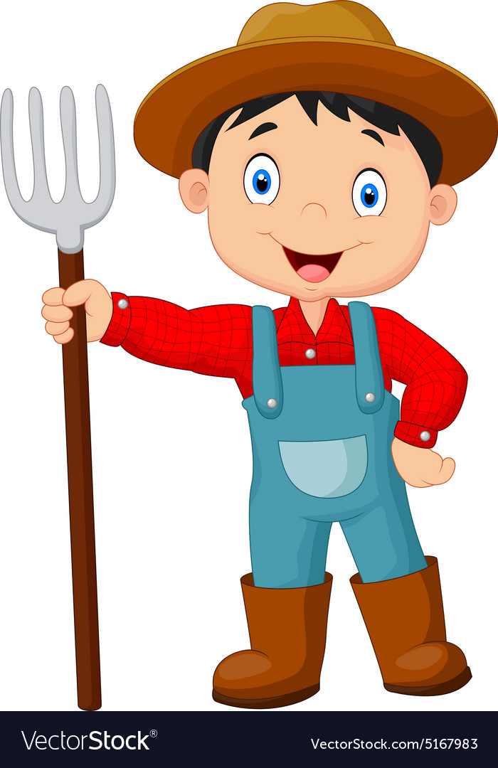 Cartoon young farmer holding rake.