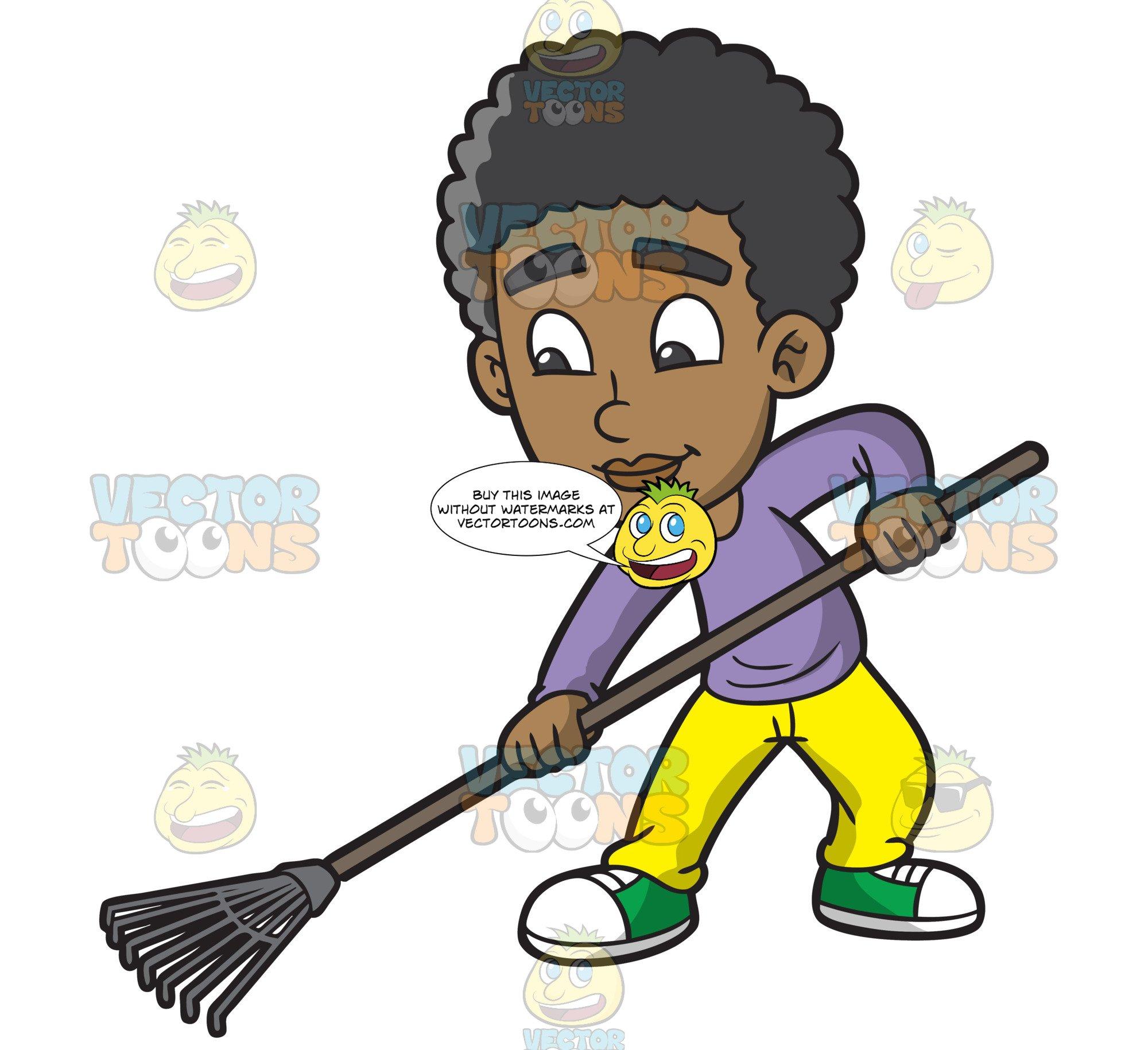 A Black Boy Using A Leaf Rake.