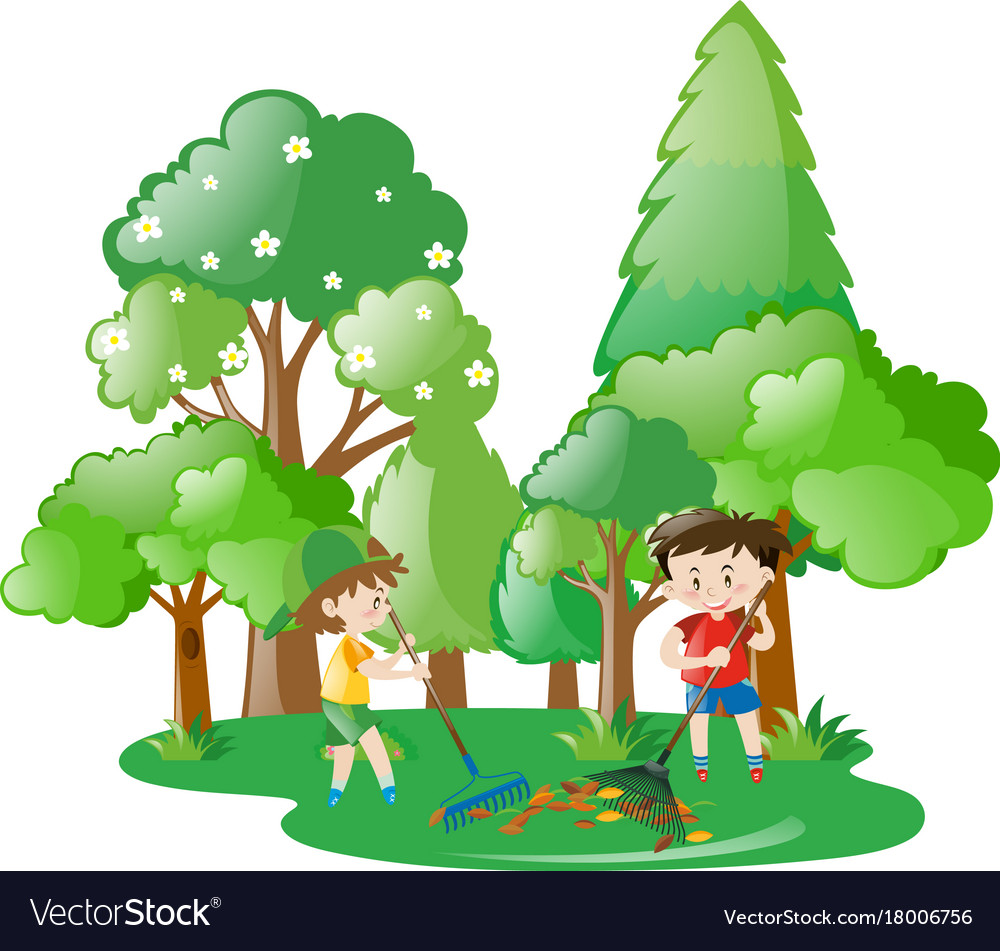 Two boys raking leaves in forest.