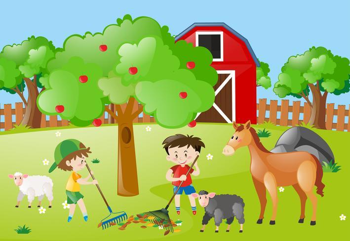 Farm scene with boys raking leaves.