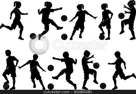 Soccer Silhouettes Kids Boys and Girls stock vector clipart.