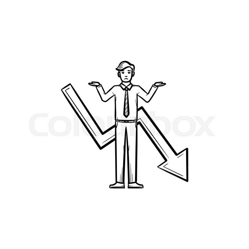 Businessman problem hand drawn vector.
