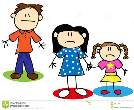 Stick figure unhappy family.