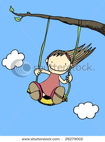 Girl Swinging Clipart.