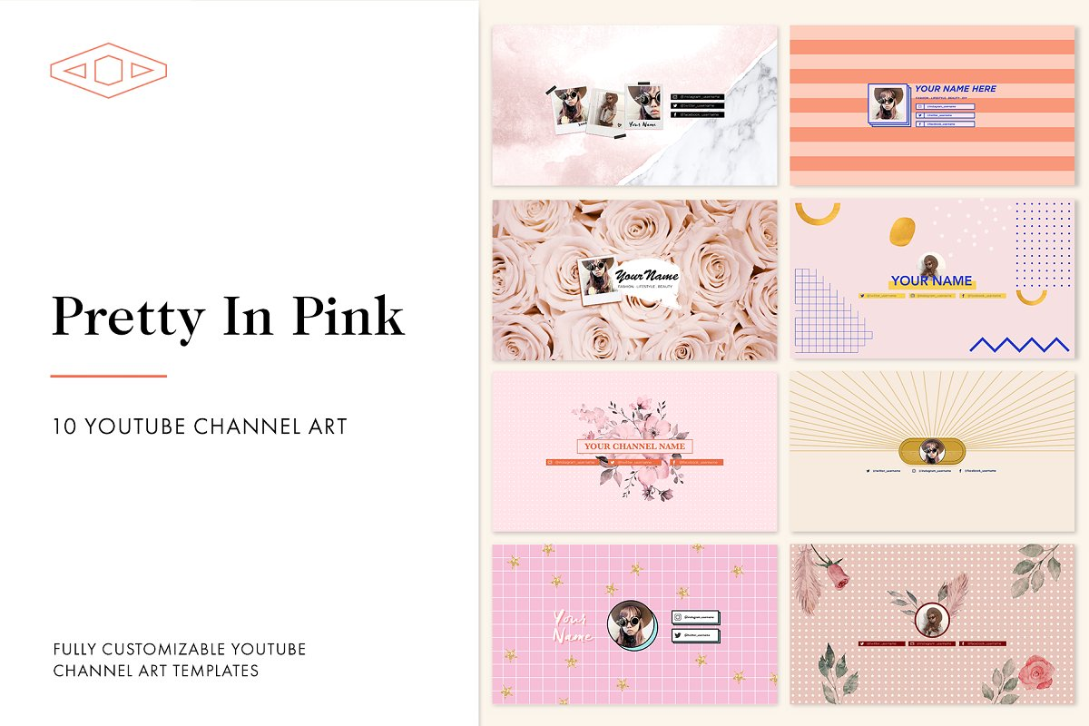 Pretty in Pink Youtube Channel Art ~ YouTube Templates ~ Creative Market.