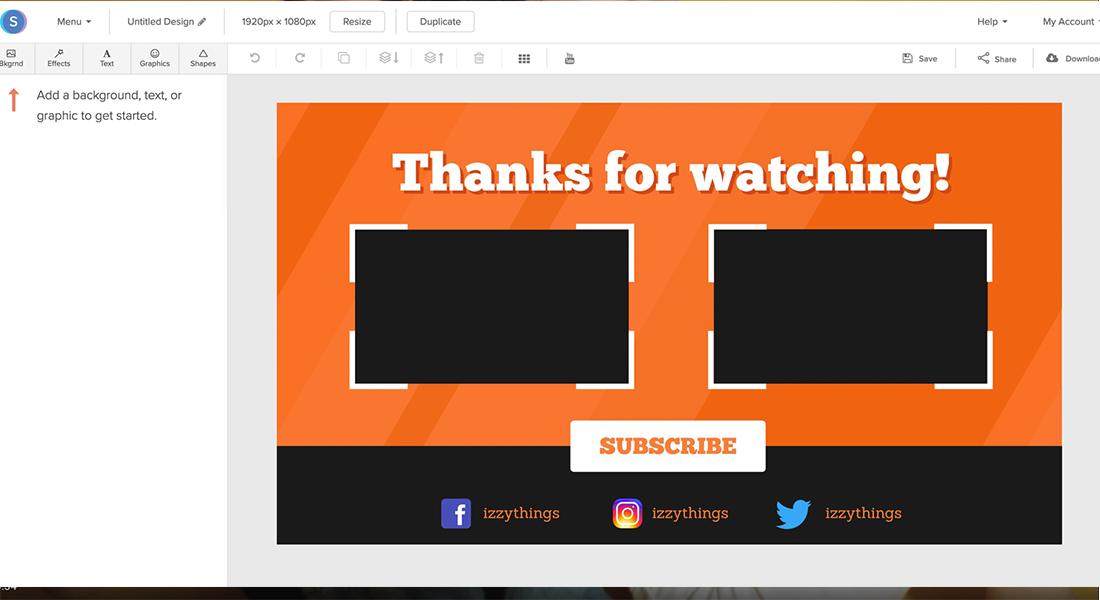 Online YouTube Outro Maker.