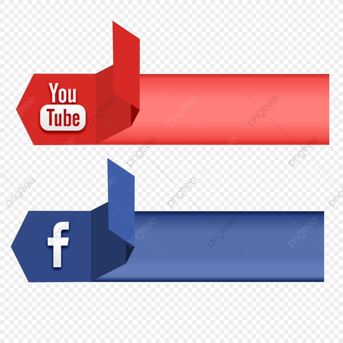 Social Media 3d Icon Youtube Vector Ribbon Banner, Social.