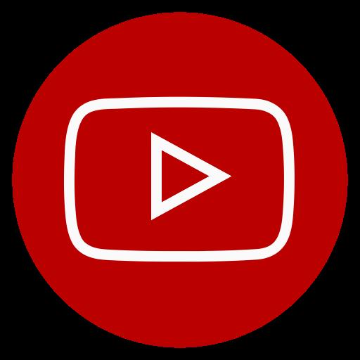 Circle, outline, youtube icon.