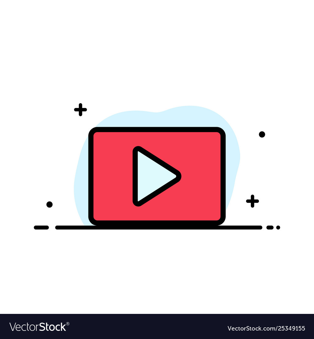 Youtube paly video player business flat line.