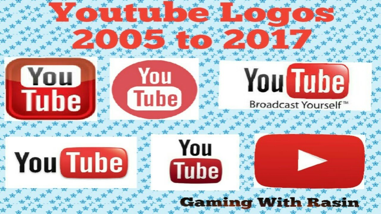 YouTube logos from 2005 to 2017.